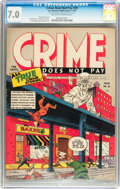 Golden Age (1938-1955):Crime, Crime Does Not Pay #30 (Lev Gleason, 1943) CGC FN/VF 7.0 Off-white to white pages....