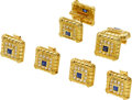 Estate Jewelry:Cufflinks, Gentleman's Diamond, Sapphire, Gold Dress Set. ...