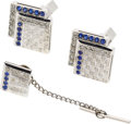 Estate Jewelry:Cufflinks, Gentleman's Sapphire, Diamond, Platinum, White Gold Cuff Links& Tie Tac Set, Tiffany & Co.. ...