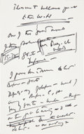 Autographs:U.S. Presidents, John F. Kennedy Autograph Notes on Verso of Menu ... (Total: 2Items)