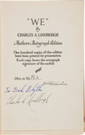 Books:Signed Editions, Charles A. Lindbergh Signed Presentation Copy of We...