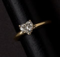 Estate Jewelry:Rings, Fine Heart Sharp Diamond & Gold Ring. ...