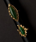 Estate Jewelry:Rings, Two Estate Jade Gold Rings. ... (Total: 2 Items)