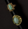 Estate Jewelry:Rings, Two Gold Jade Rings. ... (Total: 2 Items)