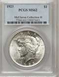 Peace Dollars: , 1923 $1 MS62 PCGS. PCGS Population (11123/163101). NGC Census:(4537/252632). Mintage: 30,800,000. Numismedia Wsl. Price fo...