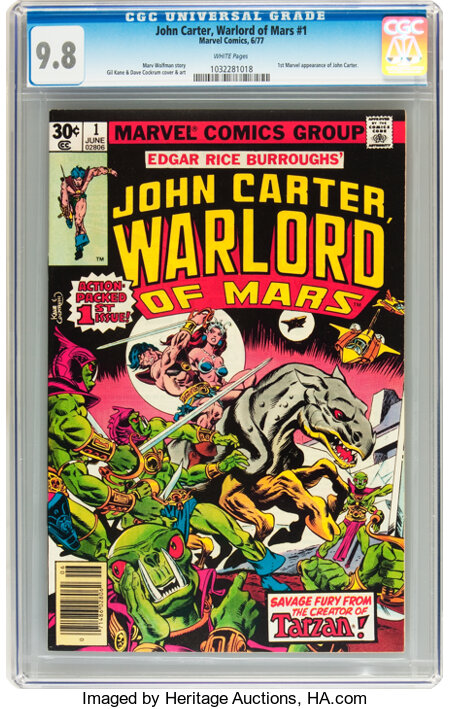 John Carter, Warlord of Mars #1 (Marvel, 1977) CGC NM/MT 9.8 White pages....