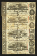 Confederate Notes:1863 Issues, T59 $10 1863 Two Examples. T60 $5 1863 Two Examples.. ... (Total: 4 notes)