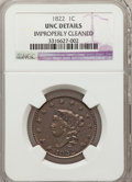 1822 1C MS60 Brown--Improperly Cleaned--NGC Details. UNC. NGC Census: (2/49). PCGS Population (1/22). Mintage: 2,072,339...