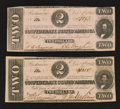 Confederate Notes:1862 Issues, T54 $2 1862 Two Examples.. ... (Total: 2 notes)
