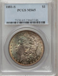 Morgan Dollars: , 1881-S $1 MS65 PCGS. PCGS Population (46738/13409). NGC Census: (48067/19222). Mintage: 12,760,000. Numismedia Wsl. Price f...