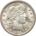Barber Quarters, 1904-O 25C MS65 PCGS....