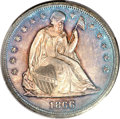 Seated Dollars, 1866 $1 Motto MS64 PCGS. CAC....