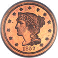Proof Large Cents, 1857 1C PR65 Red PCGS. CAC. N-5, High R.5....