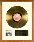 Music Memorabilia:Awards, An RIAA Gold Record for The Doors Morrison Hotel....