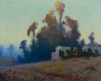 SYDNEY M. LAURENCE (American, 1865-1940) Evening Landscape Oil on canvas 16 x 20 inches (40.6 x 5