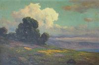 JOHN CALVIN PERRY (American, 1848-1936) California Poppies with Cumulous Clouds and a Coastal View O