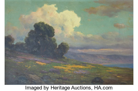 JOHN CALVIN PERRY (American, 1848-1936) California Poppies with Cumulous Clouds and a Coastal View Oil on canvas 20 x...