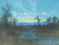 American:Regional, CHARLES DORMAN ROBINSON (American, 1847-1933). Sinking Sun,1907. Pastel on paper. 9-1/2 x 12-1/2 inches (24.1 x 31.8 cm...