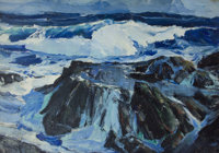 PAUL LAURITZ (Canadian, 1889-1975) The North Sea, Norway Coast Oil on canvas laid on panel 24 x 3