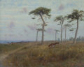 Fine Art - Painting, American:Antique  (Pre 1900), CHARLES DORMAN ROBINSON (American, 1847-1933). Cattle Grazingamong Monterey Cypress Trees, 1909. Oil on canvas laid on ...