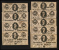 Confederate Notes:1864 Issues, T72 50 Cents 1864 Cut Sheet of Nine Examples.. ... (Total: 9 notes)
