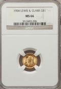 Commemorative Gold: , 1904 G$1 Lewis and Clark MS66 NGC. NGC Census: (103/23). PCGSPopulation (122/16). Mintage: 10,025. Numismedia Wsl. Price f...