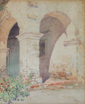 American:Western, GUNNAR MAURITZ WIDFORSS (Swedish, 1879-1934). Mission San JuanCapistrano, 1923. Watercolor on paper. 17 x 13-1/2 inches...