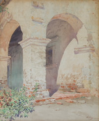 GUNNAR MAURITZ WIDFORSS (Swedish, 1879-1934) Mission San Juan Capistrano, 1923 Watercolor on paper