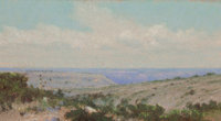 FRANK REAUGH (American, 1860-1945) On the Old Spanish Trail, 1926 Pastel on board 5 x 10 inches