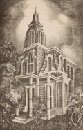 Prints, LUCILLE (ALMA LUCILLE) JEFFRIES (American, 1903-1950). House on Thirteenth Street. Lithograph on paper. 13 x 8-3/4 inche...