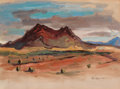 Texas:Early Texas Art - Regionalists, OTIS DOZIER (American, 1904-1987). Desert Hills, 1945. Oilon paper. 11-1/2 x 16 inches (29.2 x 40.6 cm). Signed and dat...