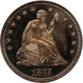 Proof Seated Quarters: , 1875 25C PR65 PCGS. PCGS Population (8/3). NGC Census: (19/13).Mintage: 700. Numismedia Wsl. Price for problem free NGC/PC...