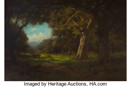 GORDON COUTTS (American, 1880-1937) Cattle Grazing in A Sunlit Clearing Oil on canvas 20-1/2 x 30-1/4 inches (52.1 x ...