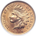 Indian Cents, 1908-S 1C MS65 Red PCGS....