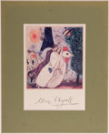 Autographs:Artists, Marc Chagall. Signed Image of Newlyweds on the Eiffel Tower.[n. d]. Signed by Chagall below image. Matted image...