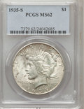 Peace Dollars: , 1935-S $1 MS62 PCGS. PCGS Population (516/3086). NGC Census:(344/1929). Mintage: 1,964,000. Numismedia Wsl. Price for prob...