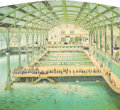 Paintings, A Four Panel American Chromolithograph Poster: The Sutro Baths. San Francisco, California, circa 1896. Paper laid on mas...