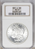 1881-S $1 MS67 NGC. A flashy and essentially untoned Superb Gem with strong luster. Wisps of rose-gold patina appear on...