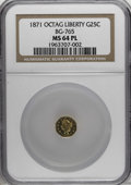 California Fractional Gold, 1871 25C Liberty Octagonal 25 Cents, BG-765, R.3, MS64 ProoflikeNGC....