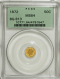 California Fractional Gold, 1872 50C Liberty Octagonal 50 Cents, BG-913, R.4, MS64 PCGS....