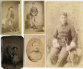Photography:Cabinet Photos, LOT OF FIVE INDIAN WAR SOLDIERS FROM THE 6th CAVALRY - ONE N.M.BOUDOIR CARD - THREE CARTE DE VISITE - ONE TINTYPE - ca....(Total: 1 Item)