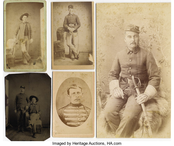 PhotographyCabinet Photos LOT OF FIVE INDIAN WAR SOLDIERS FROM THE 6th CAVALRY