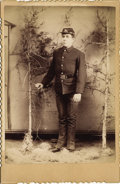Photography:Cabinet Photos, FORT NIOBRARA, NEBRASKA INDIAN WAR SOLDIER - CABINET CARD - ca.1885-1890. A fine gold-rimmed and scalloped edge studio port...(Total: 1 Item)