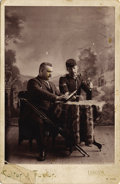 Photography:Cabinet Photos, INDIAN WARS SOLDIER AND MAN ON CRUTCHES ENJOY A DRINK - CABINETCARD - ca. 1895.. A nice image of a man on crutches and an I...(Total: 1 Item)