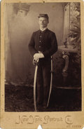 Photography:Cabinet Photos, ST. LOUIS, MISSOURI INDIAN WAR SOLDIER WITH SWORD - NEW YORK STUDIO- CABINET CARD - ca.1895.. A U.S. soldier wearing his ke... (Total:1 Item)