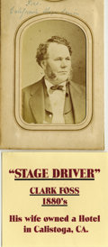 """Photography:CDVs, CLARK FOSS """"FASTEST STAGE DRIVER IN THE WORLD"""" - CARTE DE VISITE - circa 1865-77. This is a rare image of Clark Foss, a ... (Total: 1 Item)"""