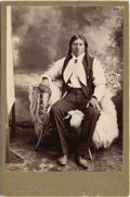 Photography:Cabinet Photos, VERNON, TEXAS NATIVE AMERICAN MAN - CABINET CARD - ca.1890. This is a mint condition studio portrait of a Texas Native Ameri... (Total: 1 Item)