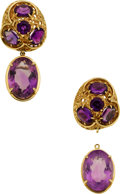 Estate Jewelry:Earrings, Amethyst, Gold Detachable Earrings. ...