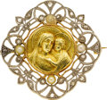 Estate Jewelry:Brooches - Pins, Victorian Diamond, Pearl, Platinum-Topped Gold Brooch. ...