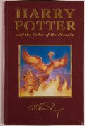 Books:Fiction, J. K. Rowling. DELUXE EDITION. Harry Potter and the Order of thePhoenix. London: Bloomsbury, 2003. First deluxe...